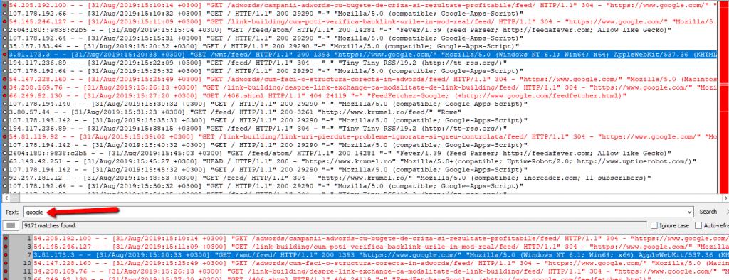 Analiza server log cu glogg.