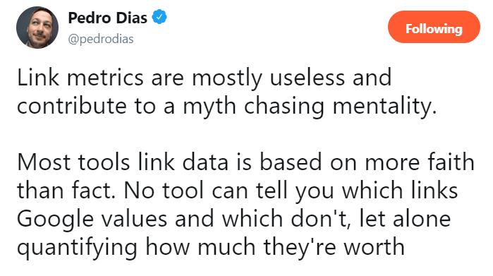 Useless link metrics.