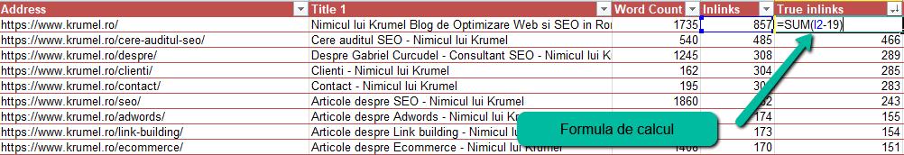 Numarul real de link-uri interne